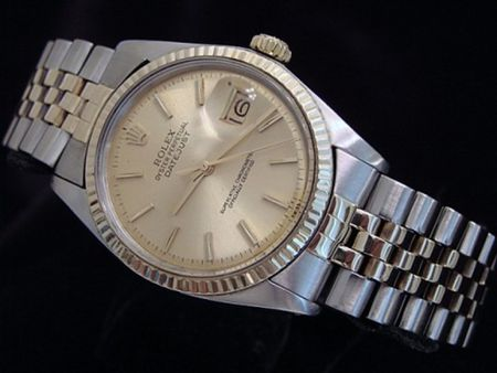 Pre Owned Mens Rolex Two-Tone Datejust with a Gold Champagne Dial 1601