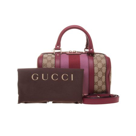 Gucci 269876 Beige/Ebony GG Fabric with Dark Red Leather Trim Handbag