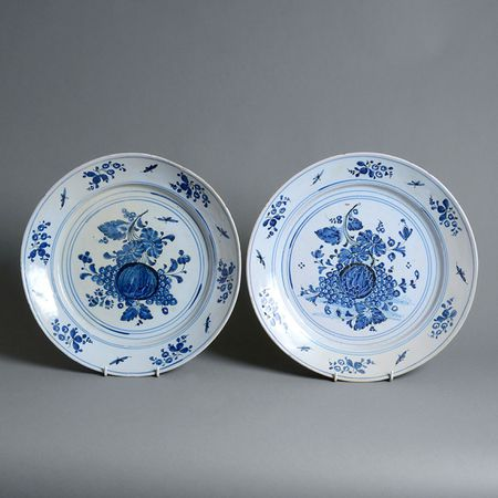 A Pair of Blue & White Delft Pottery Chargers