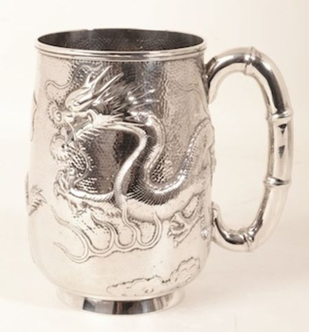 Antique Chinese Wang Hing Silver Mug c.1900