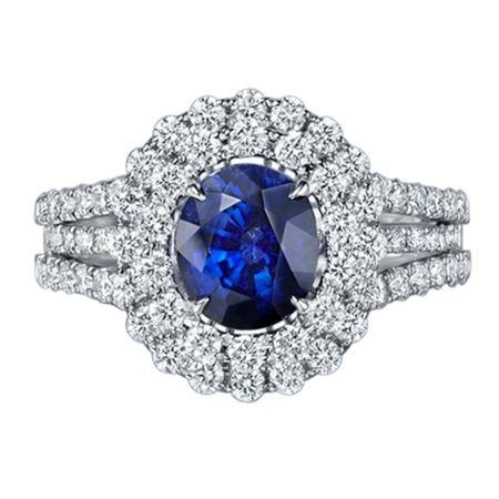 TAK FOOK - 18K SAPPHIRE DIAMOND RING