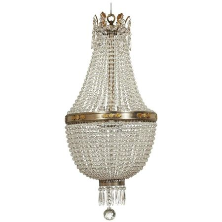 French Empire Style Glass Chandelier, circa 1910