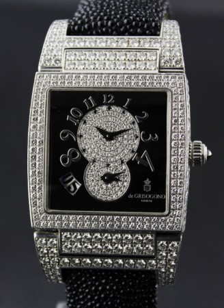 18K WHITE GOLD DE GRISOGONO DIAMOND WATCH