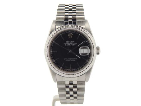Pre Owned Mens Rolex Stainless Steel Datejust with a Black Dial 16220