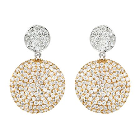 Drop Circle Diamond Earrings