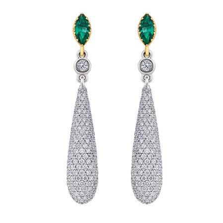 Diamond and Emerald Earrings in 18K WG