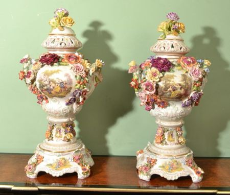 Beatiful Pair Dresden Hand Painted Porcelain Vases