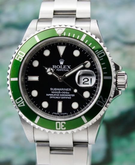 """ROLEX OYSTER PERPETUAL DATE 50th ANNIVERSARY \""""GREEN\"""" SUBMARINER / 16610 LV"""