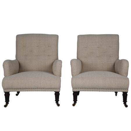 English Armchairs in Linen c.1910
