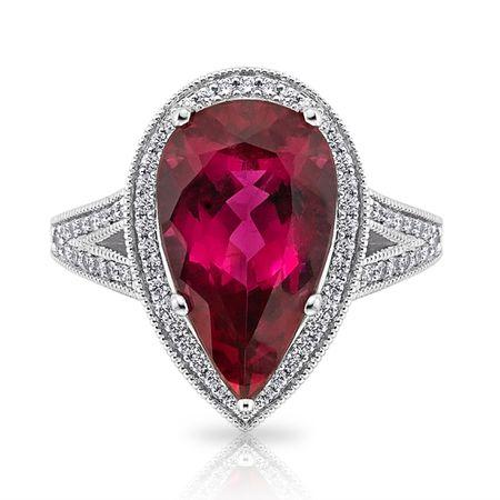 Diamond and Rubelite Ring in 18K WG