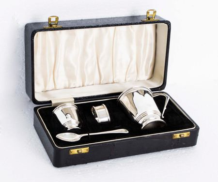 Antique English Art Deco Silver Christening Set 1932