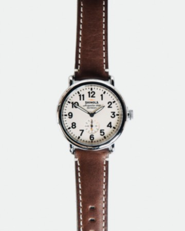 SHINOLA RUNWELL 41MM WATCH: WHITE/BROWN