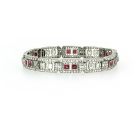 An Art Deco Platinum, Diamond and Ruby Bracelet