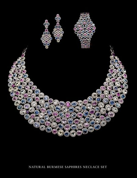 Natural Burmese Sapphires Necklace Set