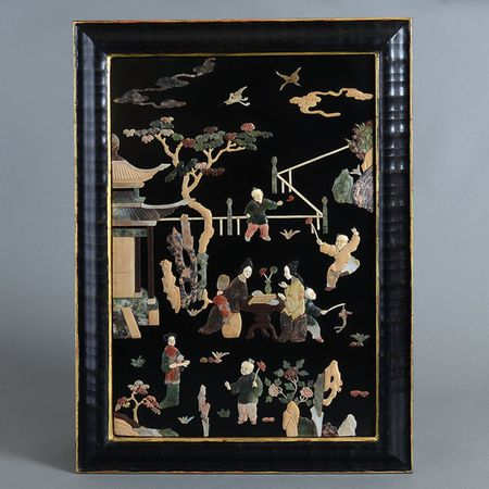 A 1860s Chinese Black Lacquer Panel