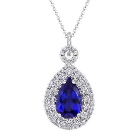 Diamond and Tanzanite Pendant with Chain