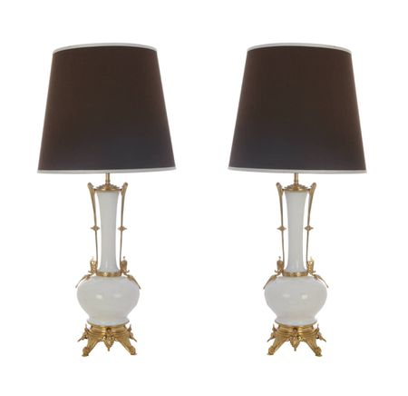 Bronze and Porcelain French Vase Lamps