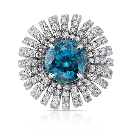 Diamond and Blue Zircon Ring in 18K WG