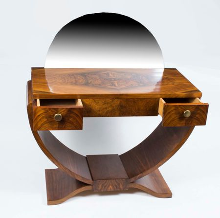 Antique French Art Deco Walnut Dressing Table c.1925