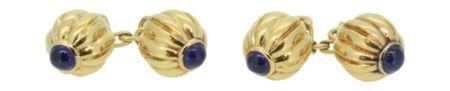 A Pair of Gold,Sapphire Pasha Cufflinks