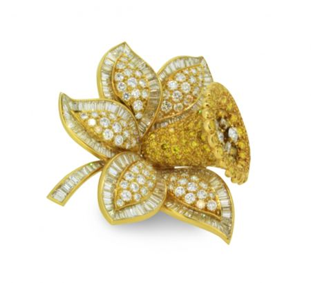 A Gold Coloured Diamond Daffodil Brooch