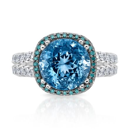 Diamond and Aquamarine Ring in 18K WG