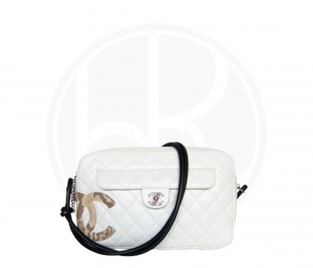 CHANEL WHITE LINGNE PYTHON CAMBON BOWLER TOTE