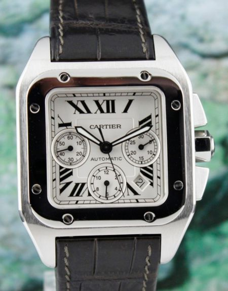 Cartier Santos 100 XL Stainless Steel Chronograph Watch / 2740